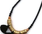 Luxe Tribal Necklace Black, Tassel, Gold,  Boho Chic