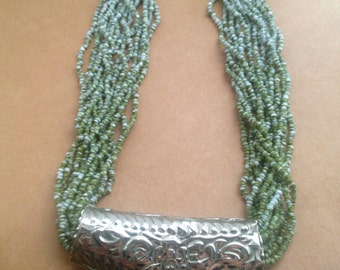 Vintage Blue and Green Seed Bead Multi Strand Necklace with Metal Plate