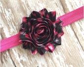 SALE Black & Pink Heart Shabby Flower Headband, Baby Headband, Toddler Headband, Girls Headband, Adult Headband, Valentines Day Hair Bow