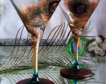 Set of 2 hand painted martini  glasses Peacock feather in gold, brown and turquoise color