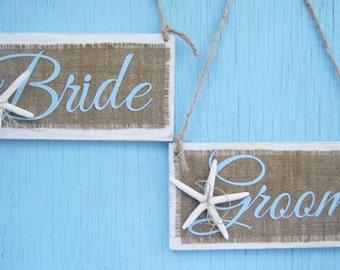 Starfish Bride and Groom Sign- Set of 2 - Beach Starfish- Beach Burlap wedding decor-Wedding Chair Sign - Wedding Photo Prop