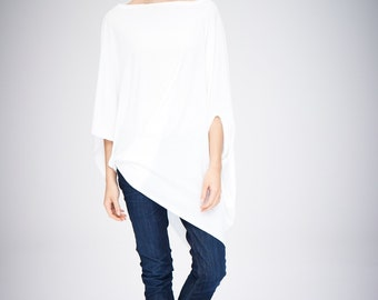 Twisted White Top/ Oversized Asymmetrical Top/ Loose White Top/ Casual Cotton Blouse by AryaSense/ TEDJ14WH