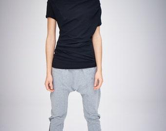 Casual Black Top/ Short Sleeved Drape Blouse/ Womens Asymmetrical Top by AryaSense/ TZVKR14BL