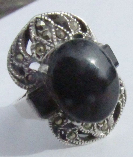 vintage onyx scarab ring sterling silver by