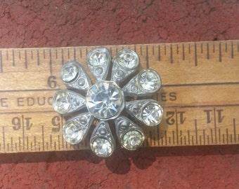 Vintage Rhinestone Button/ Rhinestone Shank Button/ Metal Button/ Flower Button