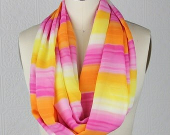 Ombre Scarf - Pink White Yellow Orange -  Striped Scarf - Lightweight Scarf - Infinity Scarf
