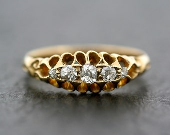 Antique Diamond Ring - Victorian Diamond Five-Stone Anniversary Ring 18ct Gold