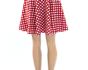 Red & White Polka Dot Print Skater Skirt Full Circle Stretchy Lycra Skirt -150408