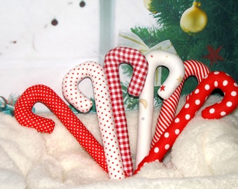 Christmas decoration. Candy-canes. Set of 6 pcs. Handmade.