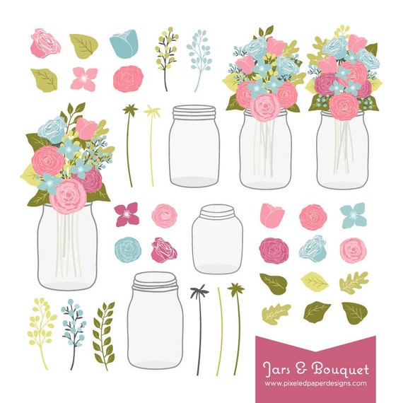 Flower Bouquet & Mason Jar Digital Clip Art. Graphics for Wedding Invites, Scrapbooking, Photography, DIY | Commercial License Available