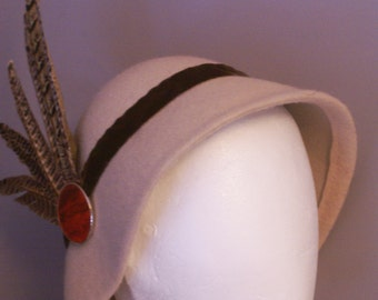 Alabaster - milky coffee colour Cloche Hat for Women pheasant feathers