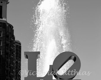 Philly LOVE symbol Love park cityscape fine art black and white photography matted 5x7 print modern Philadelphia Skyline