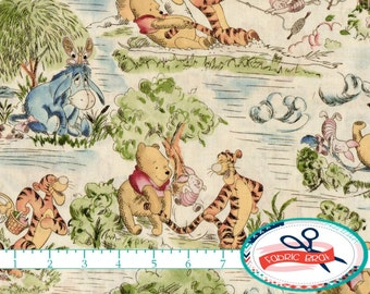 WINNIE the POOH Fabric by the Yard, Fat Quarter DISNEY Fabric Windy Day Toile Fabric Quilting Fabric Apparel Fabric 100% Cotton Fabric t5-26
