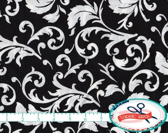 BLACK & WHITE Fabric by the Yard, Fat Quarter Black SCROLL Fabric Black Swirl Fabric Quilting Fabric 100% Cotton Fabric Apparel Fabric a2-32