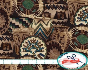 SOUTHWESTERN Fabric by the Yard, Fat Quarter BASKETS Fabric TURQUOISE & Brown Fabric Quilting Fabric 100% Cotton Fabric Apparel Fabric t4-30