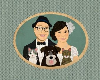 Portrait wedding invitation, wedding portrait, custom portrait, quirky wedding invitation with pets.