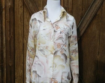 Vintage 70s Bird Print Blouse Large
