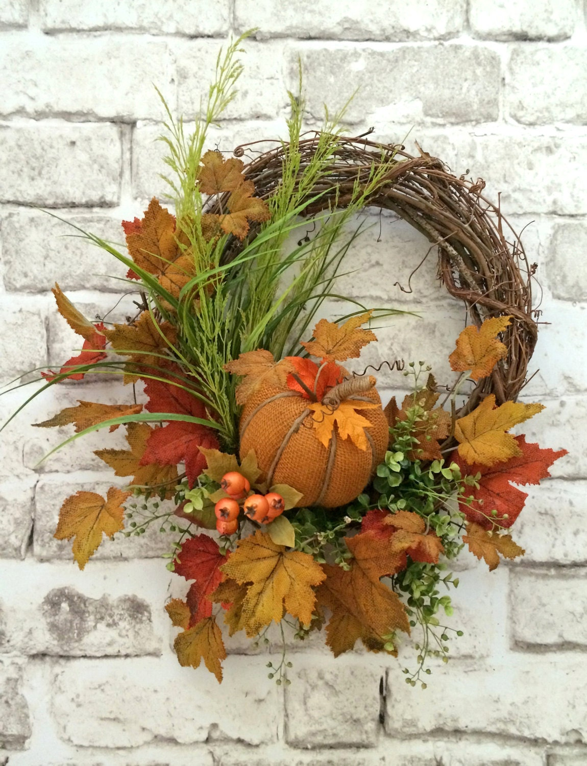 Pumpkin fall wreath for door front door wreath grapevine Fall autumn door wreaths