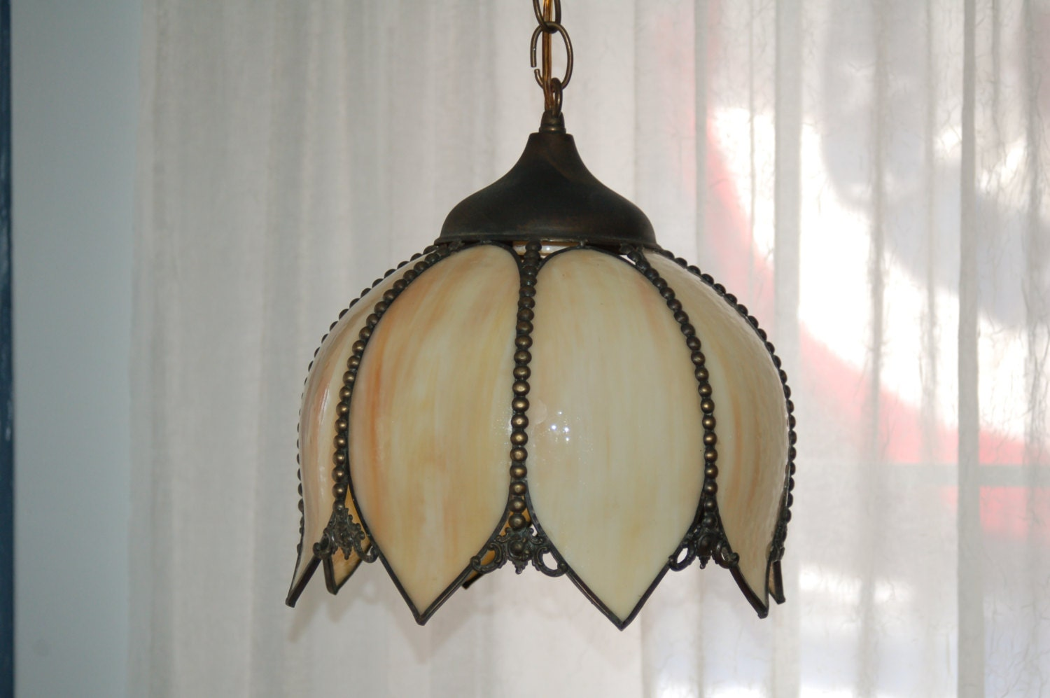 Small Vintage Tulip Style Bent Glass Tiffany Style Hanging