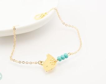 Bird charm bracelet, bird bracelet, turquoise bead, charm bracelet, gold chain bracelet, cute bracelet, friendship bracelet, gold chain