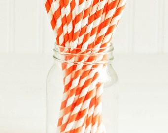Paper Straws in Orange & White Stripes - Set of 25 - Halloween Fall Autumn Cute Fun Pretty Wedding Birthday Party Shower Accessories Decor