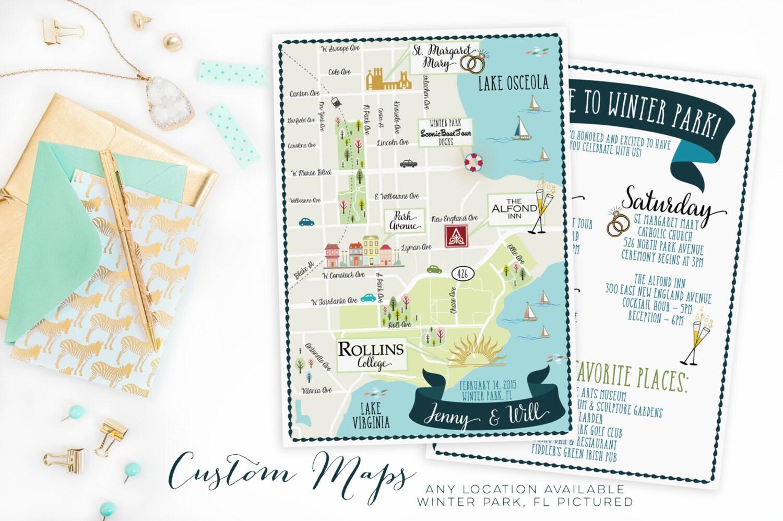 Custom Wedding MAPAny Location AvailableWinter Park Florida - Florida map location