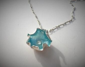 Silver enameled pendant necklace, ocean opalescent  blue, enamel necklace, blue enamel necklace, silver necklace, fine silver necklace