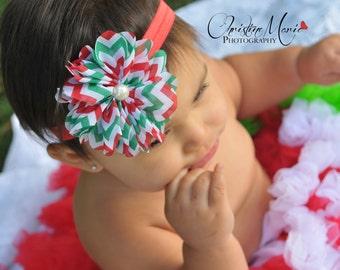 Baby headbands, Christmas headbands, red green white flower headband, newborn headbands, baby girl headbands, infant headbands
