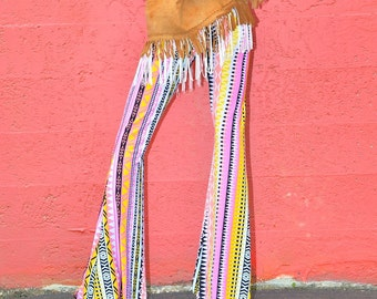 DESERT WANDERER AZTEC tribal native pink yellow purple flare leg bell bottom fashion gypsy hippie retro festival yoga beach lounge pants