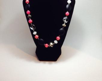 Hot pink matte black necklace