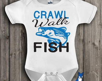 Cute baby clothes,Fisherman baby, Crawl Walk Fish, funny baby one piece,Fishing, baby bodysuit, by Blue Fox Apparel *226