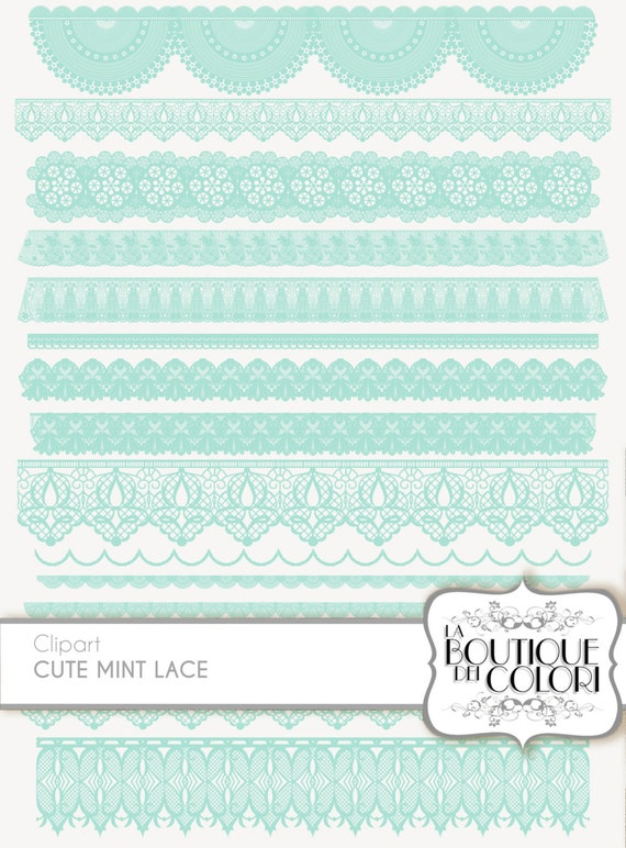 Wedding Green Mint Digital Lace Borders By Laboutiquedeicolori