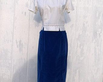 Vintage//Royal Blue//Velvet//Pencil Skirt//1980's