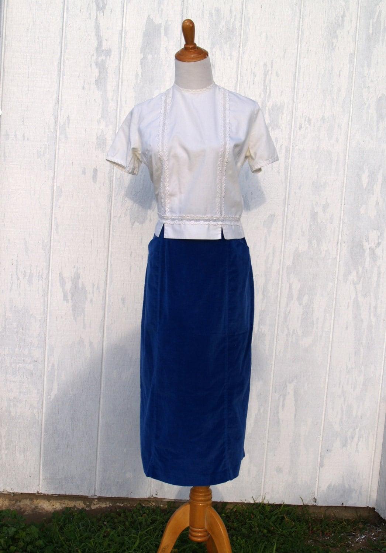 vintage royal blue velvet pencil skirt 1980 s