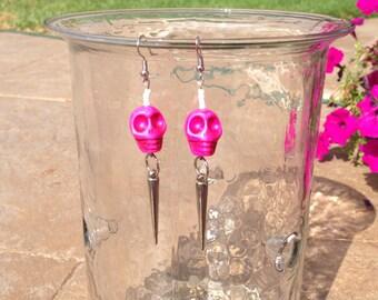 Pink Skulls & Spikes Dangle Earrings. Boho Earrings. Pink Skull Earrings. Silver Spike Earrings