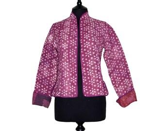 KANTHA JACKET - Small - Short style - Size 8/10 - Dark dusty pink pattern. Reverse rust.