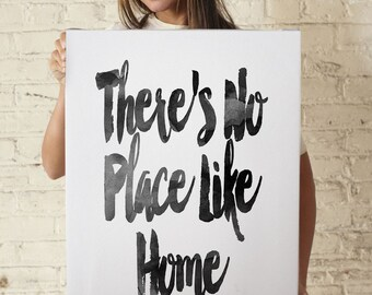 Theres No Place Like Home Canvas - Quote Canvas - Poster Art- Gallery Wrapped Canvas - Pink Black Art - Watercolor Canvas - Home Decor