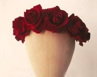 flower crown, red rose headband, floral crown, rose crown, bohemian wedding crown, burgundy hair crown - LIEBE
