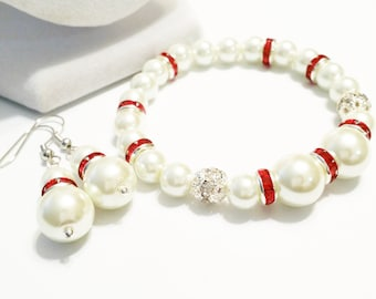 Bridesmaid Pearl Bracelet and Earring Set / Ivory and Red Bracelet and Earring Set / Bridal Pearl Bracelet and Earring Set / Red Wedding