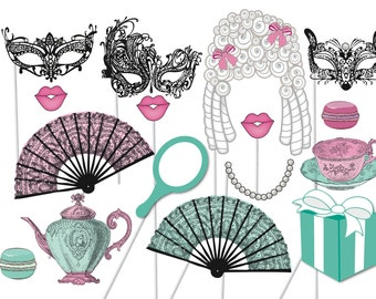High Tea Photobooth Party Props Set - 16 Piece PRINTABLE - Marie Antoinette, french decorations, teapot, teacup masquerade Photo Booth Props