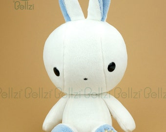 "Bellzi® Cute White ""Blue"" Contrast Bunny Toy Plush Doll -  Bunni"
