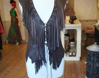 Hippie Chick Leather Fringe Vest