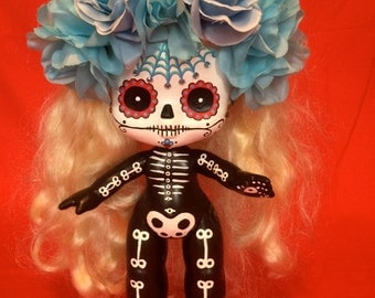 Abba Reedoh is a OOAK  Day of the Dead baby art doll