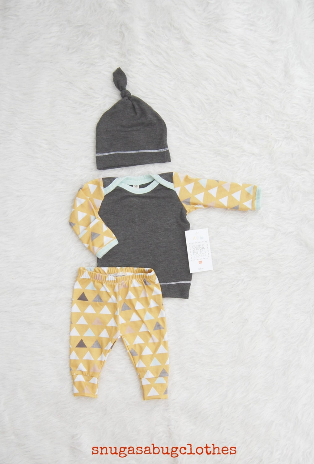 Mustard Arrow Baby Boy Coming Home Outfit with Matching Beanie