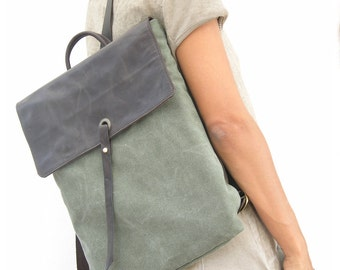 Green Canvas Backpack, Unique Laptop Backpack, Leather Satchel, Durable Backpack, Bags for School, Canvas and Leather Backpack, Green Bag