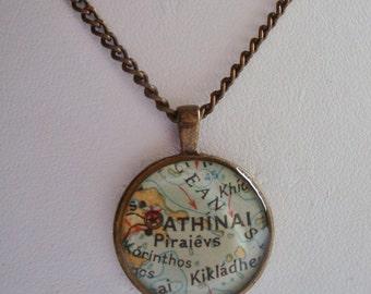 Brass Map Necklace