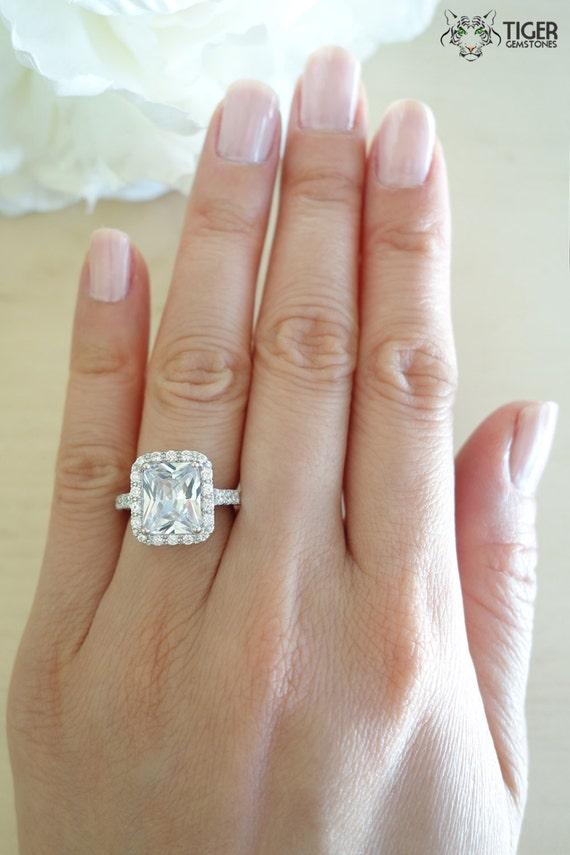 4 Carat Emerald Radiant Cut Halo Engagement Ring by TigerGemstones