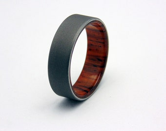 Wood wedding ring  Titanium and Cocobolo wood liner, Womens wedding band