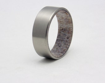 Mens Titanium and Antler wedding band, rustic antler ring