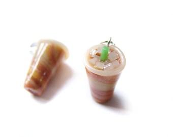 Iced Latte Coffee Charm, Miniature Food Jewelry, Polymer Clay Coffee, Vanilla Latte Jewelry, Coffee Pendant